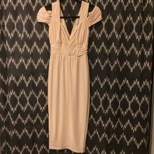 Cream ASOS plunder neck cold shoulder dress